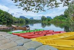 Viwe озера утра Krabi стоковое изображение rf