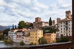 Viwe al castello superiore dal ponte Alpini in grappa di Bassano Fotografie Stock Libere da Diritti
