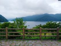 Viwe of lake Ashi in Hakone area royalty free stock images