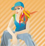 Vixen girl. Red hair girl sitting and facing Stock Images