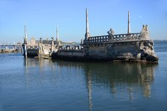 Vizcaya in Miami, USA. The Italian style Stone barge in the bay in front of Villa Vizcaya in Miami, Florida, USA royalty free stock photography