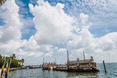 The Vizcaya Museum and Gardens. Miami, FL, USA - April 2, 2017: Venetian style Pier at The Vizcaya Museum and Gardens Royalty Free Stock Photos