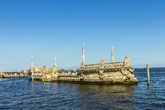 Vizcaya Museum and Gardens in Miami, Florida. The 'Italian Barge' in the bay in front of the Villa Vizcaya. The Vizcaya Museum and Gardens is the former villa Stock Photo