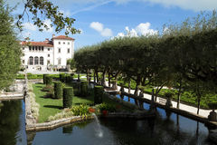Vizcaya Museum and Gardens a renaissance-style villa and gardens located in Miami, Florida, USA. MIAMI, FLORIDA, USA - January 1, 2016:  Visitors tour the Royalty Free Stock Image