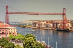 Vizcaya Przerzuca most, połączenia i Getxo miasteczka Portugalete, bask zdjęcia stock