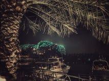 Vizekönighotel nachts in Abu Dhabi Lizenzfreies Stockfoto