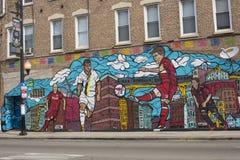 Vizinhança Art Mural público de Pilsen, Viva Futbol, uma pintura mural isso fotos de stock royalty free
