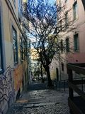 Vizinhança de Chiado em Lisboa, Portugal foto de stock royalty free