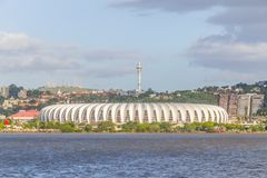 Vizinhança de Santa Tereza, lago Guaiba, Beira Rio Stadium, Porto fotografia de stock