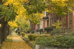Vizinhança suburbana no lado sul de Chicago foto de stock