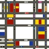 Vizinhanças urbanas estilizados do sumário O movimento dos veículos em ruas da cidade Ilustração ilustração do vetor