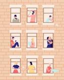 Vizinhos e vizinhança Exterior da construção com janelas abertas e os povos que vivem para dentro Beber dos homens e das mulheres ilustração royalty free