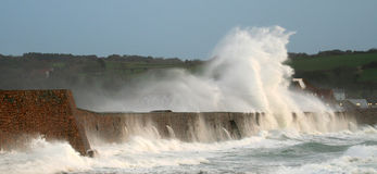 Vizor Storm, Guernsey. A winter storm hammers Vazon, Guernsey Royalty Free Stock Image