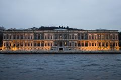 Vizzion Europe building from the Bosphorus in the afternoon with lights stock photos