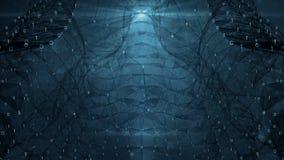 VJ-ögla - digital binär mörk bakgrund för rörelse för abstrakt begrepp för plexusdatanätverk royaltyfri illustrationer