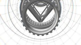 Vj abstrai a grade do túnel do espaço com animação sem emenda do laço das geometria 3D Pode ser útil como o áudio digital ilustração do vetor