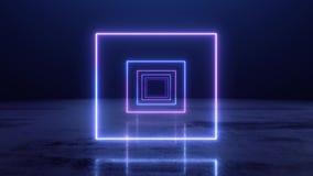 VJ abstrakcjonistyczny Neonowy kwadratowy tunel ilustracja wektor