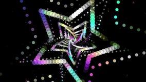 VJ che balla il tunnel variopinto della luce al neon della stella