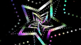 VJ Dancing Colorful Star Neon Light Tunnel stock footage