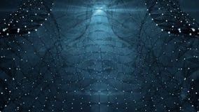 VJ pętla - Cyfrowego Plexus Ciemnych sieci przesyłania danych ruchu Abstrakcjonistyczny tło ilustracji