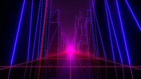 VJ Retro-Futuristic City. Retro-futuristic perfectly looped VJ animation. 80`s style. Drive through a futuristic city stock illustration