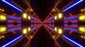 Vjloop airhangar do corredor do túnel do scifi futurista com fulgor agradável e reflexões 3d que rendem o fundo ilustração stock