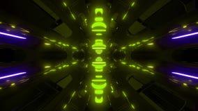 Vjloop futurista do fundo do papel de parede do fundo do scifi com fulgor verde 3d para render ilustração stock
