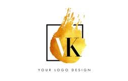 VK gouden Brief Logo Painted Brush Texture Strokes Stock Foto