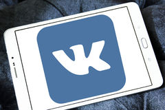 Vk logo. Vk application logo and vector on samsung tablet Royalty Free Stock Photography