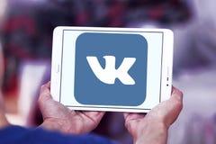 Vk logo. Vk application logo and vector on samsung tablet in hands stock images