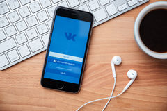 Vkontakte是快和容易的通信的一个社会网络 免版税库存照片