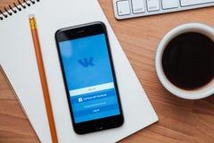 Vkontakte est un réseau social pour la communication rapide et facile Image libre de droits