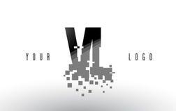 VL V L logo de lettre de pixel avec les places noires brisées par Digital Photographie stock libre de droits