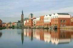 Vlaardingen, Paesi Bassi - 9 aprile 2018: vista del Buizengat fotografia stock libera da diritti