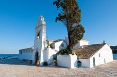 Vlacheraina修道院的门面 corfu希腊海岛 免版税库存图片