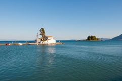 Vlacheraina monastery and Pontikonisi Island in the distance.Corfu, Greece. Royalty Free Stock Images