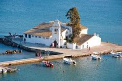 Vlacheraina Ortodoksalny monaster w midday na wyspie Corfu, Grecja Zdjęcie Stock