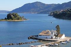 Vlacherna修道院科孚岛希腊 免版税库存照片