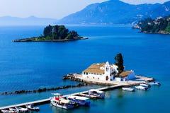 Vlacherna修道院, Kanoni, Corfu 库存照片