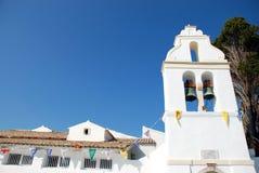 Vlacherna科孚岛的,希腊修道院和老鼠海岛 库存照片