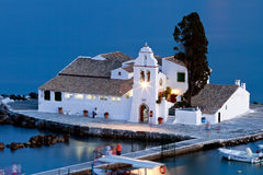 vlacherna захода солнца скита corfu Греции Стоковое Изображение