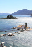 Vlacherna Kloster und Pontikonisi, Griechenland Stockbild