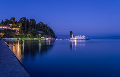 Vlacherna monastery in Corfu Greece. Night view of the popular monastery Vlacherna in Corfu Ionian Islands Greece Royalty Free Stock Photo