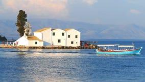 Vlacherna Monastery in Corfu town, Kerkyra Greece stock footage