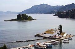 Vlacherna monastery and Mouse Island, Corfu Stock Photo