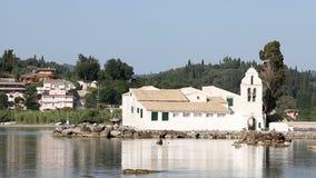 Vlacherna monastery Pontikonisi Corfu stock video footage