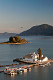 Vlacherna monastery at sunset, Corfu, Greece Stock Image