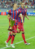 Vlad Chiriches and Lukasz Szukala celebrate victory Royalty Free Stock Image