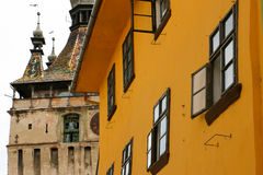 Vlad the Impaler`s birthplace. And the Clock Tower - Sighisoara - Romania Royalty Free Stock Photo
