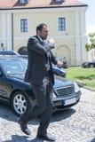 Vlade Divac, beroemde vroegere professionele basketbalspeler stock foto